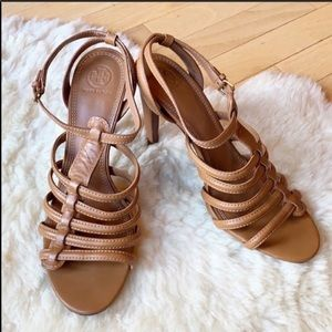 TORY BURCH heels size 11 brown tan strappy leather
